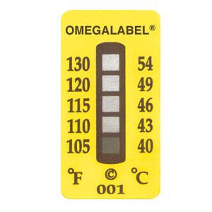 Nicht-reversible Temperaturaufkleber mit 5 Messpunkten