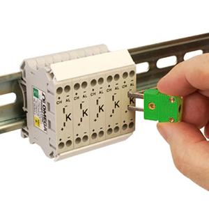 Thermoelement-Klemmenblöcke zur DIN-Schienenmontage mit Prüfbuchse | DRTB-2