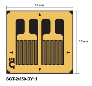 SGT-DY11 DMS in Messwertaufnehmer-Qualität - Zwei parallele Messgitter für Biegedehnung | SGT-DY11