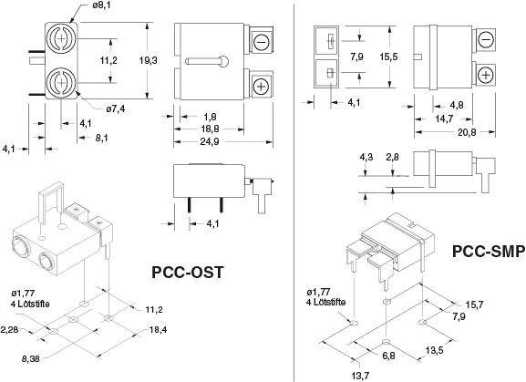 Abmessungen von PCC-OST und; PCC-SMP