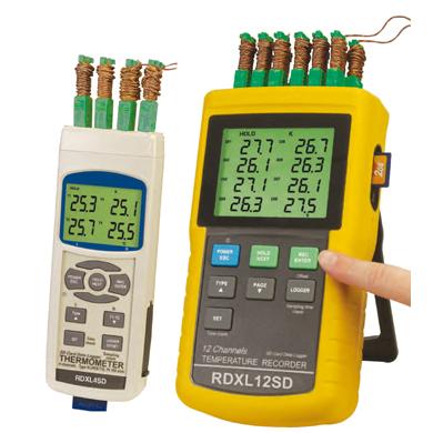 RDXL4SD, RDXL12SD Tragbare Thermometer/Datenlogger mit SD-Karte | RDXL4SD, RDXL12SD